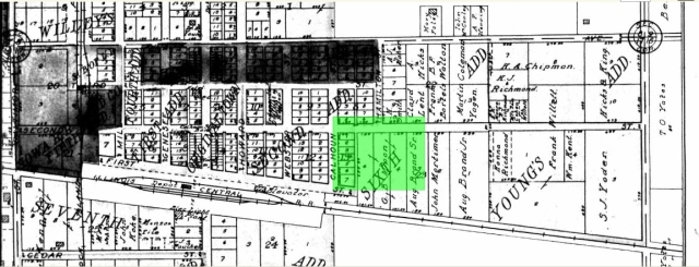 This is the platte for GB Moon's property.  With this I determined a street and approximate house number.  Did you notice house close he was to the train station?