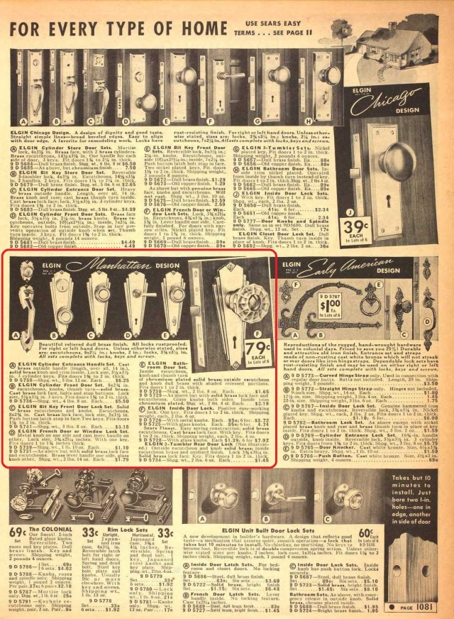 Sears Fall merchandise catalog 1939: Manhattan Hardware.